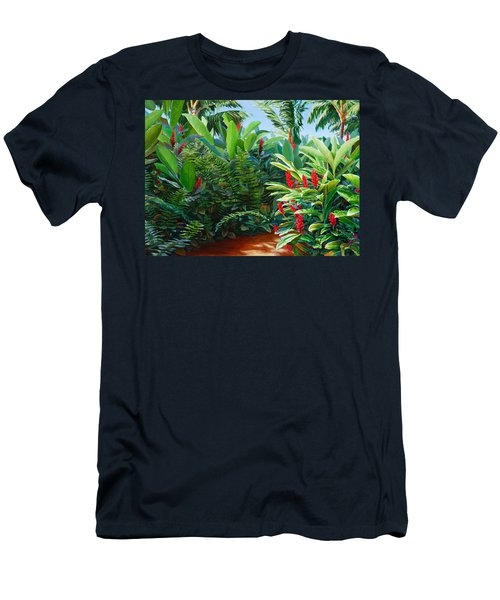 Tropical Jungle Landscape - Red Garden Hawaiian Torch Ginger Wall Art Men's T-Shirt (Athletic Fit)