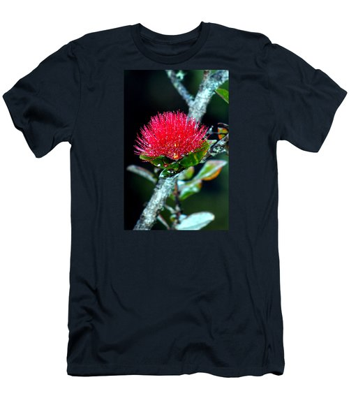 Men's T-Shirt (Slim Fit) featuring the photograph Red Ohia Lehua In Hawaii Volcano Mist by Lehua Pekelo-Stearns