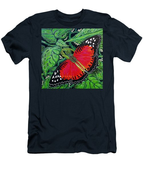 Red Butterfly Men's T-Shirt (Athletic Fit)