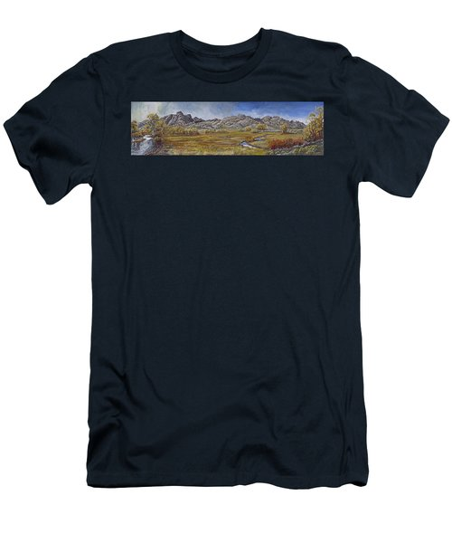 Men's T-Shirt (Slim Fit) featuring the painting River Mural Autumn View  by Dawn Senior-Trask