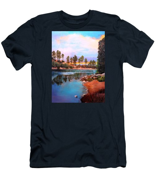 Men's T-Shirt (Slim Fit) featuring the painting Rose Canyon Lake 2 by M Diane Bonaparte