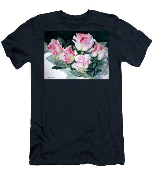 Watercolor Of A Pink Rose Bouquet Celebrating Ezio Pinza Men's T-Shirt (Athletic Fit)