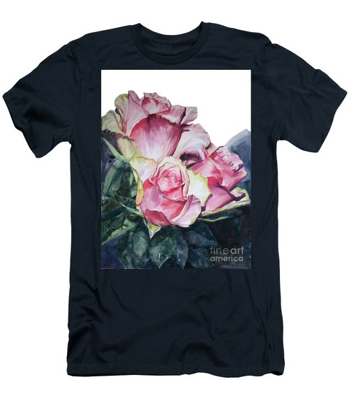 Watercolor Of A Bouquet Of Pink Roses I Call Rose Michelangelo Men's T-Shirt (Athletic Fit)
