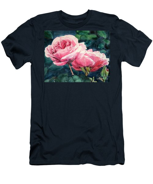 Watercolor Of Two Luscious Pink Roses Men's T-Shirt (Athletic Fit)