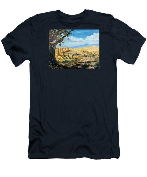 Rural Farmland Americana Folk Art Autumn Harvest Ranch Men's T-Shirt (Athletic Fit)