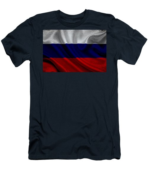 Russian Flag Waving On Canvas Men's T-Shirt (Athletic Fit)