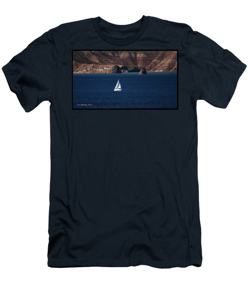 Men's T-Shirt (Slim Fit) featuring the photograph Sailing At Roosevelt Lake On The Blue Water by Tom Janca