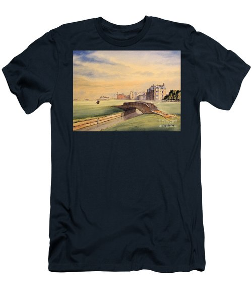 Men's T-Shirt (Athletic Fit) featuring the painting Saint Andrews Golf Course Scotland - 18th Hole by Bill Holkham