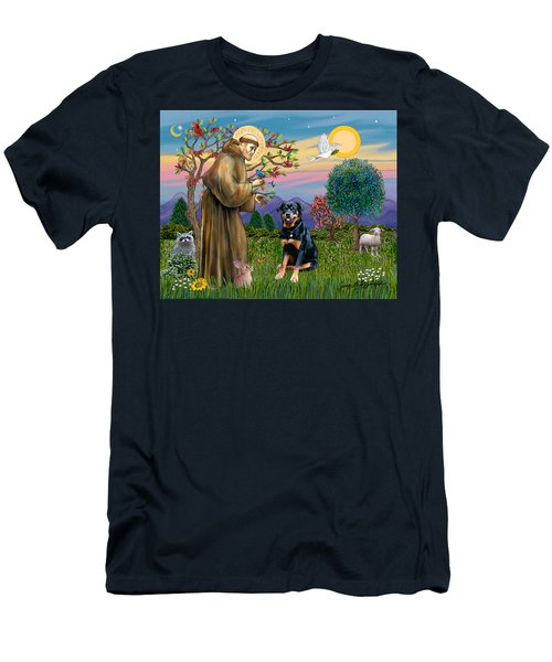 Saint Francis Blesses A Rottweiler Men's T-Shirt (Athletic Fit)