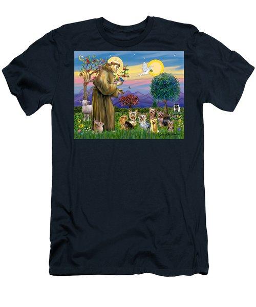 Saint Francis Blesses Seven Yorkies Men's T-Shirt (Athletic Fit)