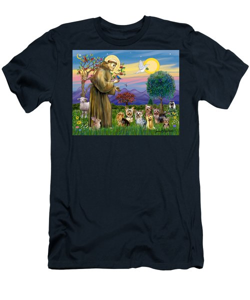 Saint Francis Blesses Seven Yorkies Men's T-Shirt (Athletic Fit)
