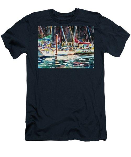 Men's T-Shirt (Slim Fit) featuring the painting Santa Cruz Dock by Xueling Zou