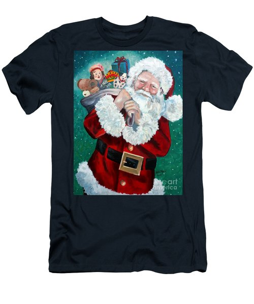 Santa's Coming To Town Men's T-Shirt (Slim Fit) by Julie Brugh Riffey