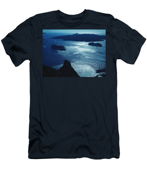 Men's T-Shirt (Slim Fit) featuring the photograph Santorini  Silent Night View Greece by Colette V Hera  Guggenheim
