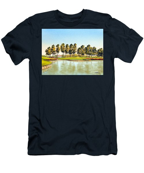 Men's T-Shirt (Athletic Fit) featuring the painting Sawgrass Tpc Golf Course 17th Hole by Bill Holkham