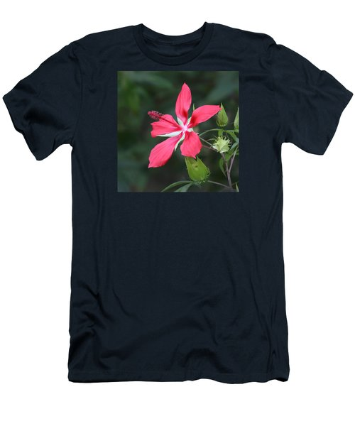 Men's T-Shirt (Slim Fit) featuring the photograph Scarlet Hibiscus #3 by Paul Rebmann