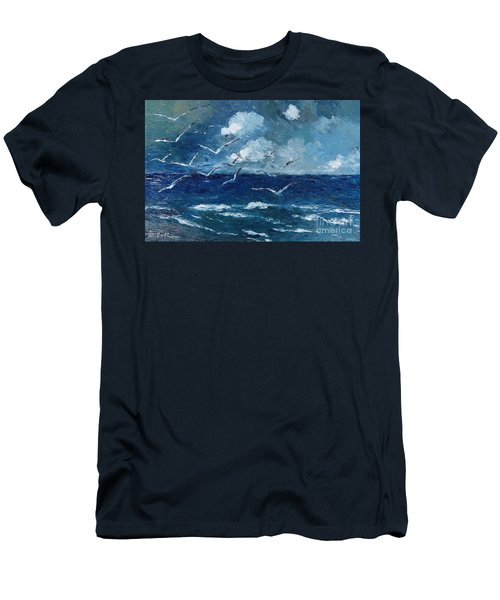 Men's T-Shirt (Slim Fit) featuring the painting Seagulls Over Adriatic Sea by AmaS Art