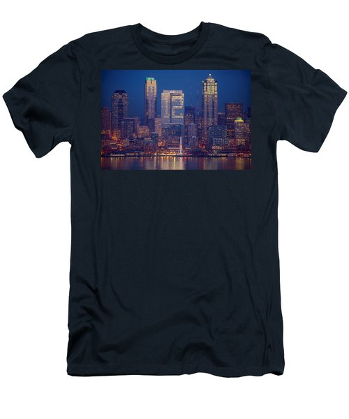 Seahawks 12th Man Seattle Skyline At Dusk Men's T-Shirt (Slim Fit) by Mike Reid