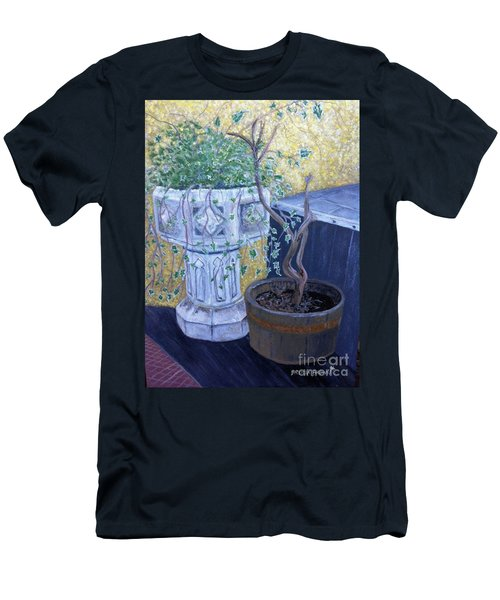 Men's T-Shirt (Slim Fit) featuring the painting Sean's Planter by Brenda Brown