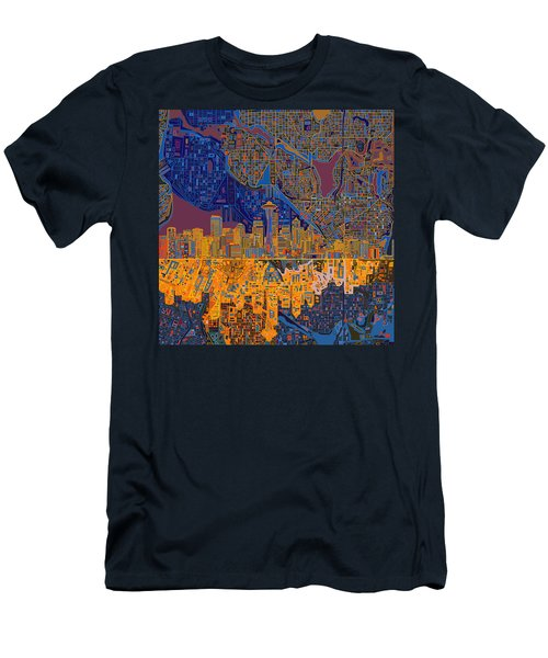 Seattle Skyline Abstract 4 Men's T-Shirt (Athletic Fit)