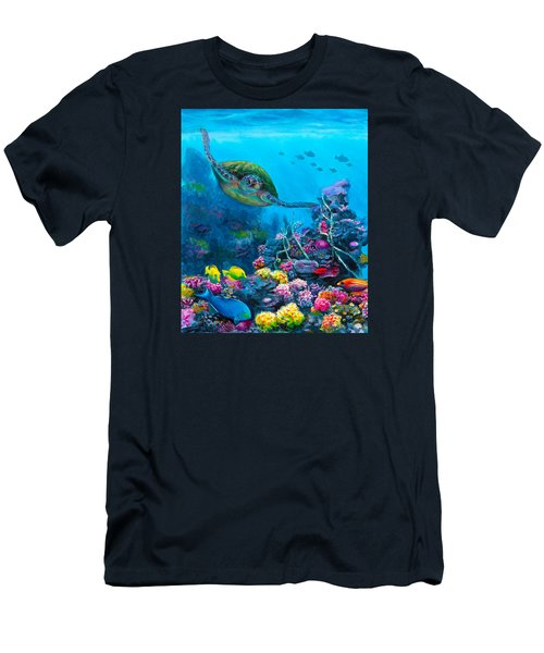 Secret Sanctuary - Hawaiian Green Sea Turtle And Reef Men's T-Shirt (Slim Fit) by Karen Whitworth
