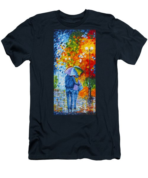 Men's T-Shirt (Athletic Fit) featuring the painting Sharing Love On A Rainy Evening Original Palette Knife Painting by Georgeta Blanaru