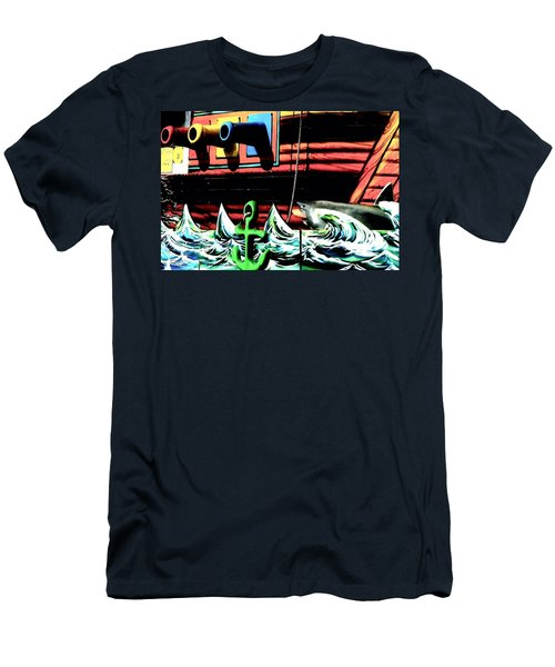 Men's T-Shirt (Slim Fit) featuring the photograph Shark And Pirate Ship Pop Art Posterized Photo by Marianne Dow
