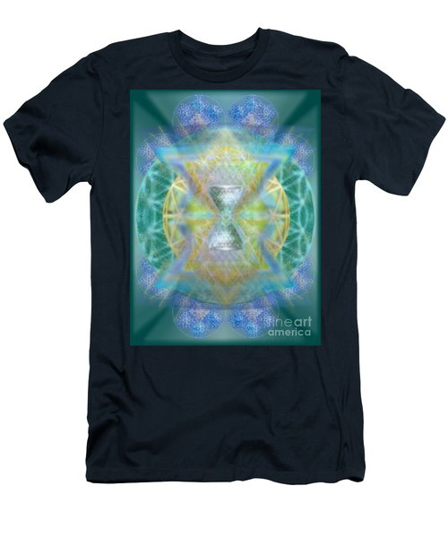 Men's T-Shirt (Slim Fit) featuring the digital art Silver Torquoise Chalicell Ring Flower Of Life Matrix by Christopher Pringer