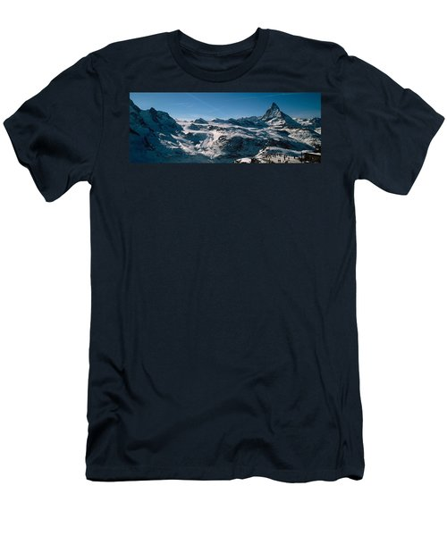 Skiers On Mountains In Winter Men's T-Shirt (Athletic Fit)