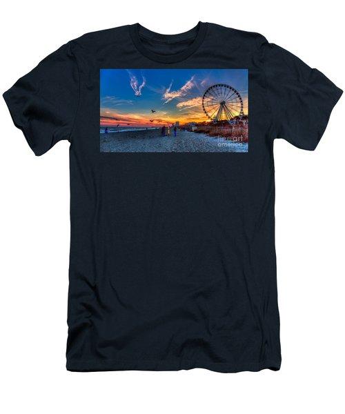 Skywheel Sunset At Myrtle Beach Men's T-Shirt (Slim Fit) by Robert Loe