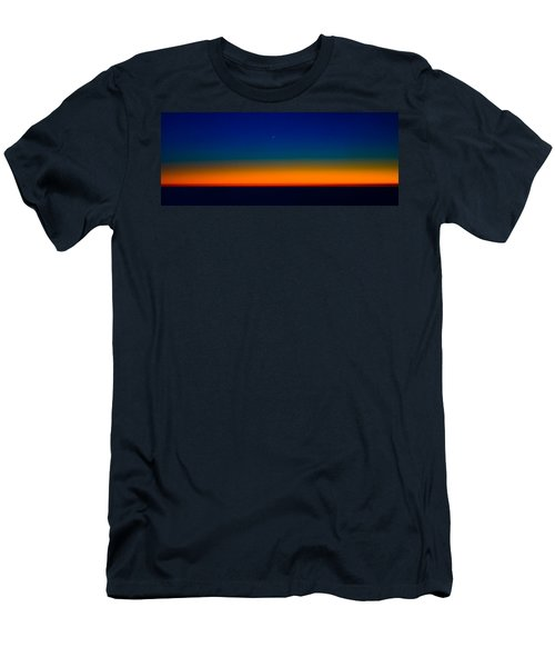Men's T-Shirt (Slim Fit) featuring the photograph Slice Of Moon In The Night Sky by Don Schwartz