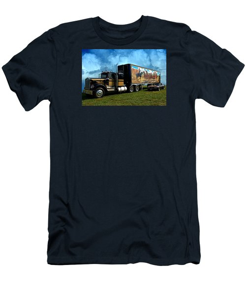 Men's T-Shirt (Slim Fit) featuring the photograph Smokey And The Bandit Tribute 1973 Kenworth W900 Black And Gold Semi Truck And The Bandit Transam by Tim McCullough
