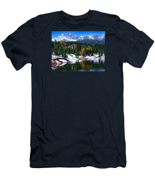 Snow Capped Pikes Peak At Crystal  Men's T-Shirt (Slim Fit) by John Hoffman