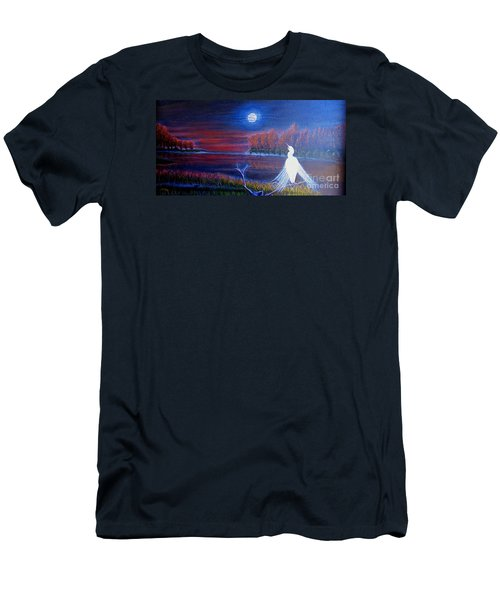 Men's T-Shirt (Slim Fit) featuring the painting Song Of The Silent Autumn Night by Kimberlee Baxter