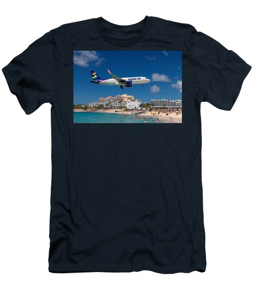 Spirit Airlines Low Approach To St. Maarten Men's T-Shirt (Athletic Fit)