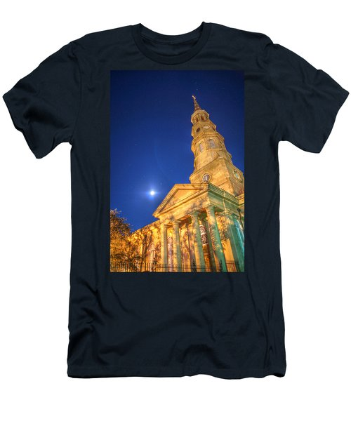St. Phillip's At Night With Moon And Stars Men's T-Shirt (Athletic Fit)