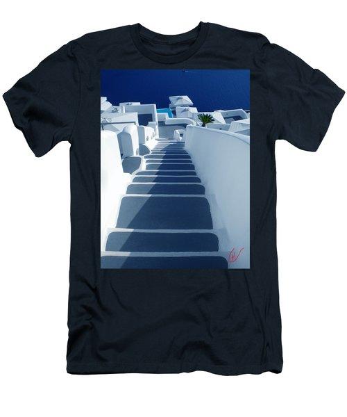 Stairs Down To Ocean Santorini Men's T-Shirt (Athletic Fit)