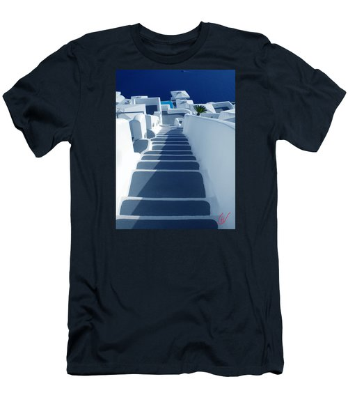 Stairs Down To Ocean Santorini Men's T-Shirt (Athletic Fit)