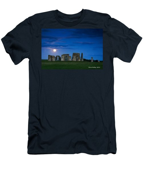 Men's T-Shirt (Slim Fit) featuring the painting Stonehenge At Night by Bruce Nutting