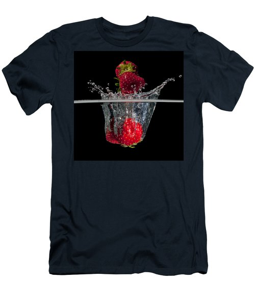 Strawberries Splashing In Water Men's T-Shirt (Slim Fit) by Mike Santis