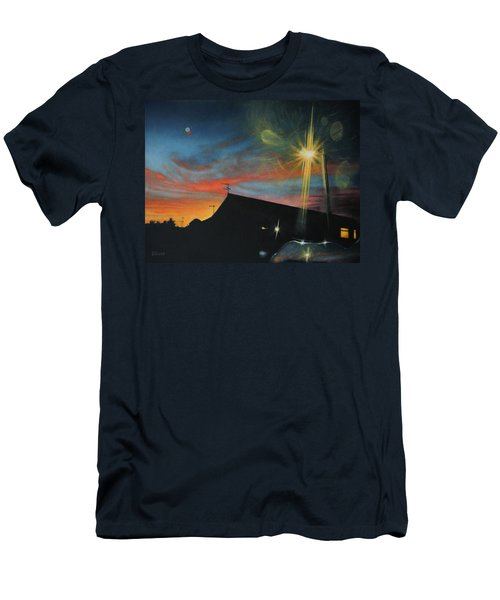 Suburban Sunset Oil On Canvas Men's T-Shirt (Athletic Fit)