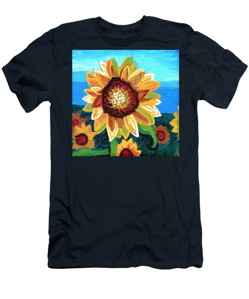 Sunflowers And Blue Sky Men's T-Shirt (Slim Fit) by Genevieve Esson