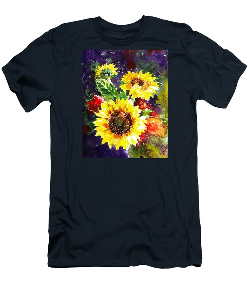 Men's T-Shirt (Athletic Fit) featuring the painting Sunflowers Impressionism by Irina Sztukowski