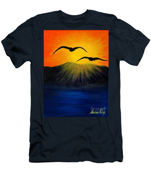 Men's T-Shirt (Slim Fit) featuring the painting Sunrise And Two Seagulls by Oksana Semenchenko