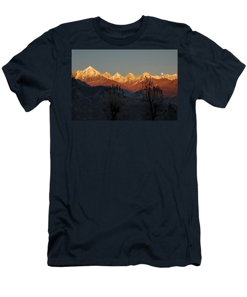 Sunset And Moonrise. The Rendezvous. Men's T-Shirt (Slim Fit) by Fotosas Photography