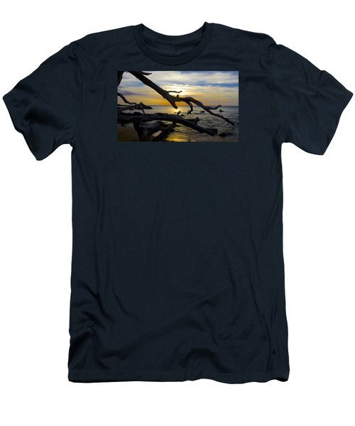Driftwood At Sunset On Beach '69 Men's T-Shirt (Slim Fit) by Venetia Featherstone-Witty