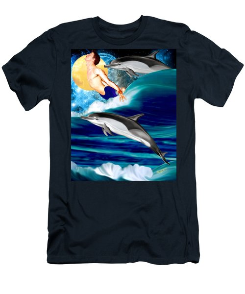 Swimming With Dolphins Men's T-Shirt (Athletic Fit)