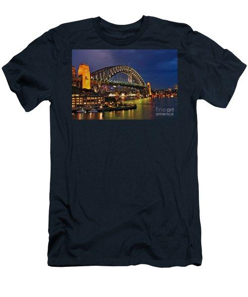Sydney Harbour Bridge By Night Men's T-Shirt (Athletic Fit)