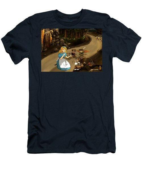Men's T-Shirt (Slim Fit) featuring the painting Tammy Meets Cedric The Mongoose by Reynold Jay