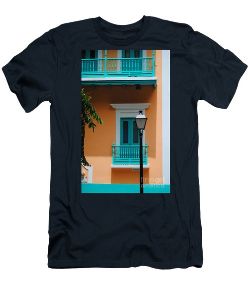Teal With Pale Orange Men's T-Shirt (Athletic Fit)